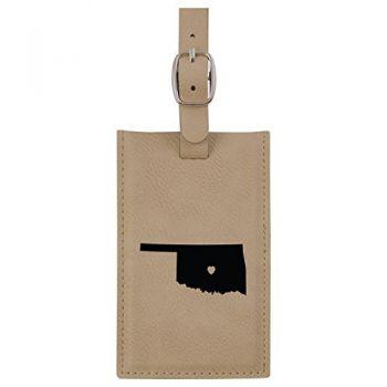 Oklahoma-State Outline-Heart-Leatherette Luggage Tag -Tan