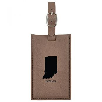 Indiana-State Outline-Leatherette Luggage Tag -Brown