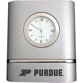 Purdue University- Two-Toned Desk Clock -Silver