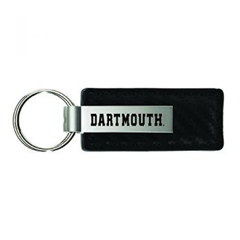 Dartmouth College-Carbon Fiber Leather and Metal Key Tag-Black