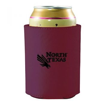 University of North Texas-Leatherette Beverage Can Cooler-Burgundy
