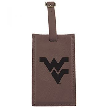 West Virginia University -Leatherette Luggage Tag-Brown