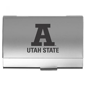 Utah State University - Two-Tone Business Card Holder - Silver