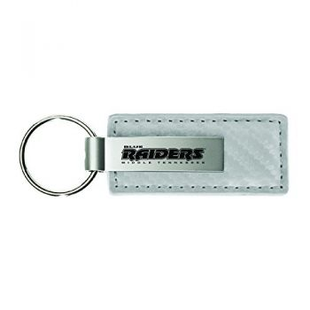 Middle Tennessee State University-Carbon Fiber Leather and Metal Key Tag-White