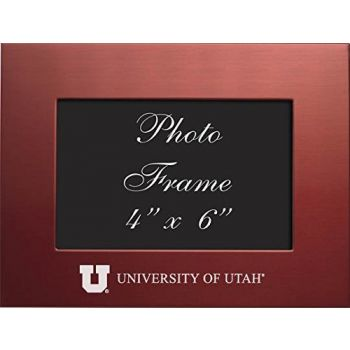 University of Utah - 4x6 Brushed Metal Picture Frame - Red