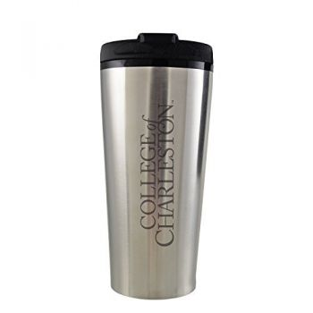 College of Charleston-16 oz. Travel Mug Tumbler-Silver