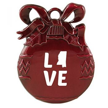 Mississippi-State Outline-Love-Christmas Tree Ornament-Burgundy