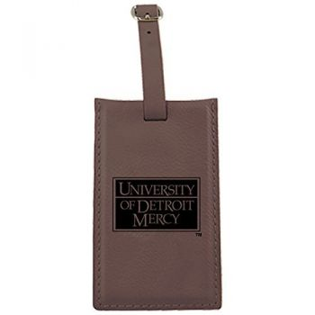 University of Detroit Mercy-Leatherette Luggage Tag-Brown