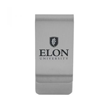 Elon University|Money Clip with Contemporary Metals Finish|Solid Brass|High Tension Clip to Securely Hold Cash, Cards and ID's|Gold