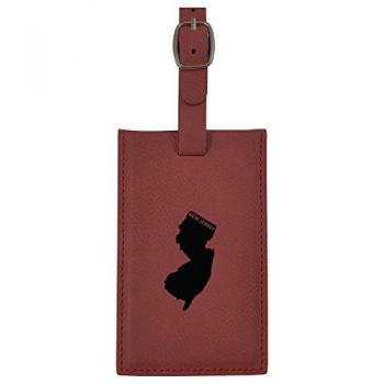 New Jersey-State Outline-Leatherette Luggage Tag -Burgundy
