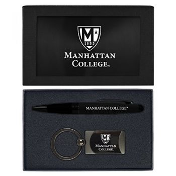 Manhattan College-Executive Twist Action Ballpoint Pen Stylus and Gunmetal Key Tag Gift Set-Black