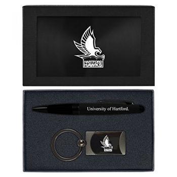University of Hartford-Executive Twist Action Ballpoint Pen Stylus and Gunmetal Key Tag Gift Set-Black