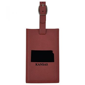 Kansas-State Outline-Leatherette Luggage Tag -Burgundy