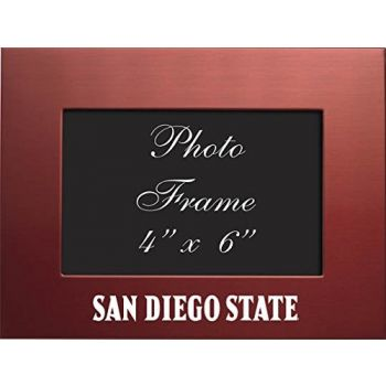 San Diego State University - 4x6 Brushed Metal Picture Frame - Red