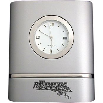 California State University, Bakersfield- Two-Toned Desk Clock -Silver