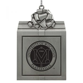 University of Wisconsin-Platteville-Pewter Christmas Holiday Present Ornament-Silver