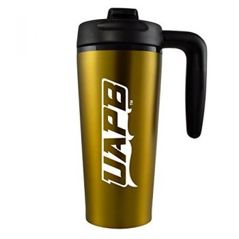 University of Arkansas at Pine Buff -16 oz. Travel Mug Tumbler with Handle-Gold