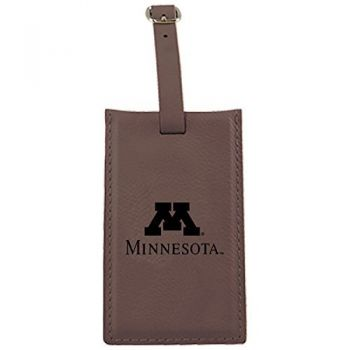 University of Minnesota -Leatherette Luggage Tag-Brown