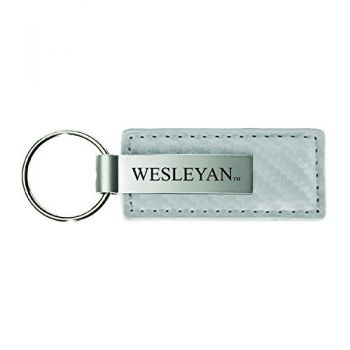 Western Carolina University-Carbon Fiber Leather and Metal Key Tag-White