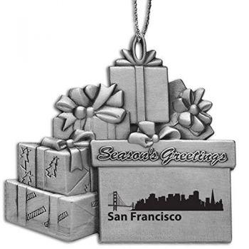 Pewter Gift Display Christmas Tree Ornament - San Francisco City Skyline