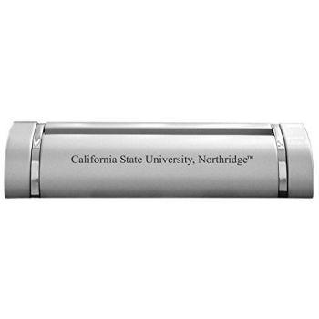 California State University, Northridge-Desk Business Card Holder -Silver