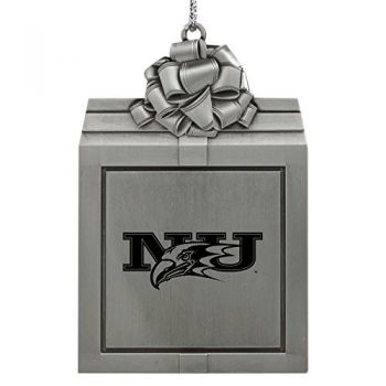 Niagara University -Pewter Christmas Holiday Present Ornament-Silver