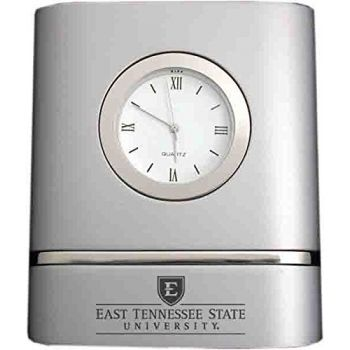 East Tennessee State University- Two-Toned Desk Clock -Silver