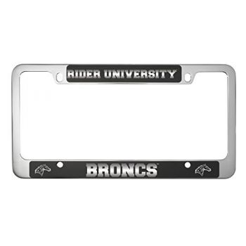 Rider University -Metal License Plate Frame-Black