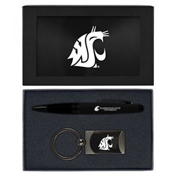 Washington State University -Executive Twist Action Ballpoint Pen Stylus and Gunmetal Key Tag Gift Set-Black