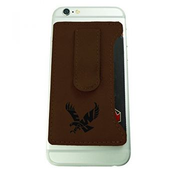 Eastern Washington University -Leatherette Cell Phone Card Holder-Brown