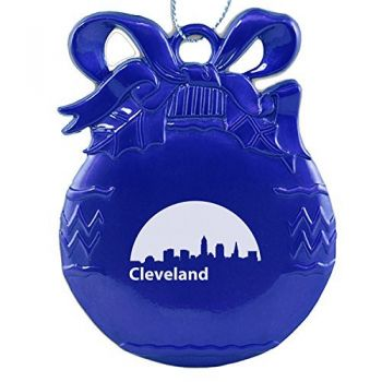 Pewter Christmas Bulb Ornament - Cleveland City Skyline