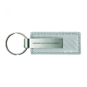 Mississippi Valley State University-Carbon Fiber Leather and Metal Key Tag-White