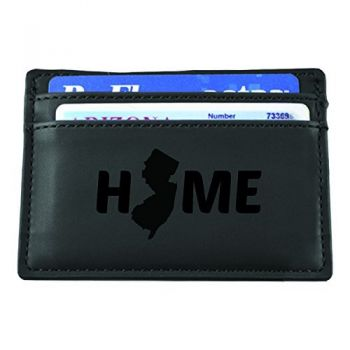 New Jersey-State Outline-Home-European Money Clip Wallet-Black