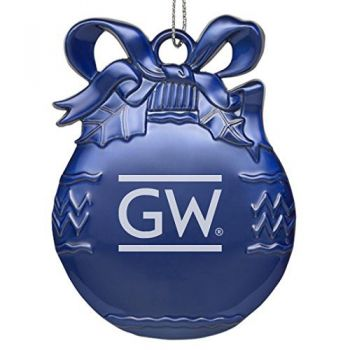The George Washington University - Pewter Christmas Tree Ornament - Blue