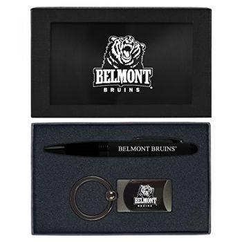 Belmont University-Executive Twist Action Ballpoint Pen Stylus and Gunmetal Key Tag Gift Set-Black