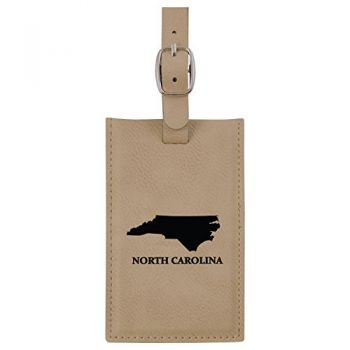 North Carolina-State Outline-Leatherette Luggage Tag -Tan