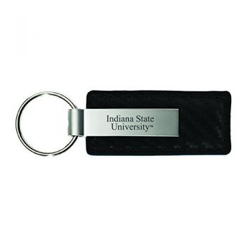 Indiana State University-Carbon Fiber Leather and Metal Key Tag-Black