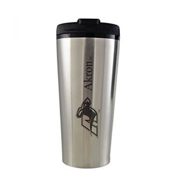University of Akron -16 oz. Travel Mug Tumbler-Silver