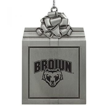 Brown University -Pewter Christmas Holiday Present Ornament-Silver
