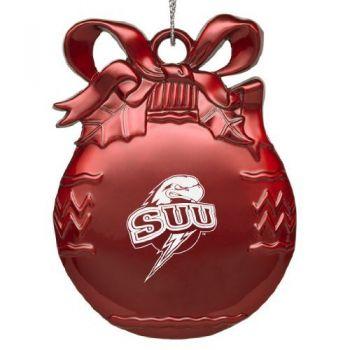 Southern Utah University - Pewter Christmas Tree Ornament - Red