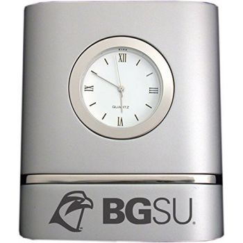 Bowling Green State University- Two-Toned Desk Clock -Silver