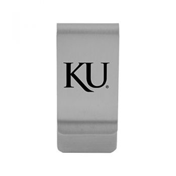 The University of Kansas|Money Clip with Contemporary Metals Finish|Solid Brass|High Tension Clip to Securely Hold Cash, Cards and ID's|Gold