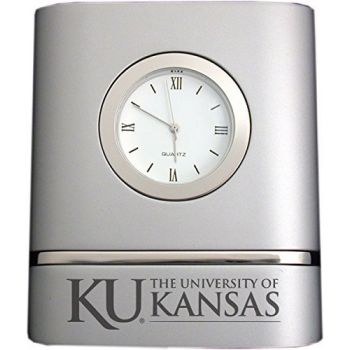 University of Kansas- Two-Toned Desk Clock -Silver