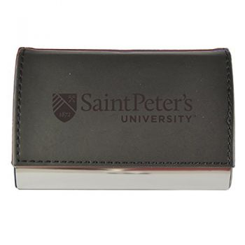 Velour Business Cardholder-Saint Peter's University-Black