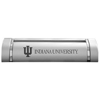 Indiana University-Desk Business Card Holder -Silver