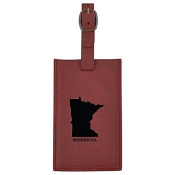 Minnesota-State Outline-Leatherette Luggage Tag -Burgundy