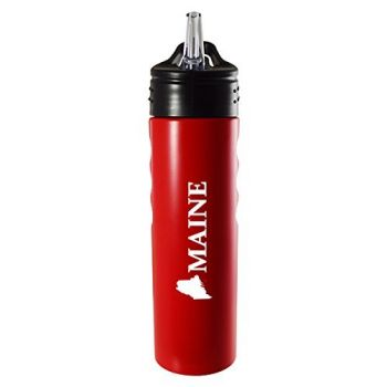 Maine-State Outline-Stainless Steel Grip Water Bottle with Straw-Red