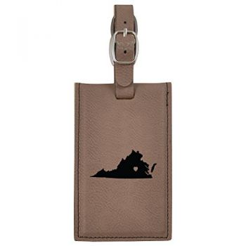 Virginia-State Outline-Heart-Leatherette Luggage Tag -Brown