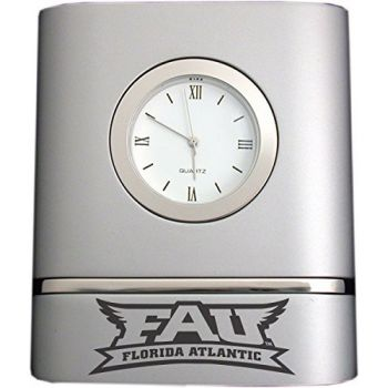 Florida Atlantic University- Two-Toned Desk Clock -Silver