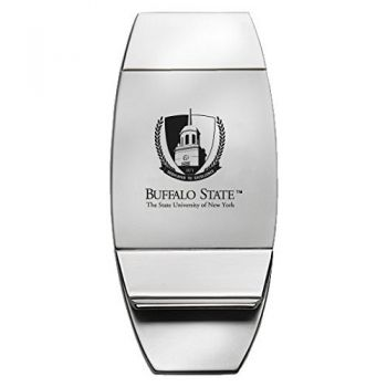 Buffalo State, State University of New York - Two-Toned Money Clip - Silver